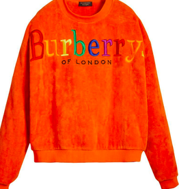 BURBERRY RAINBOW SPELL OUT LOGO TOWELING CREWNECK SWEATSHIRT LARGE