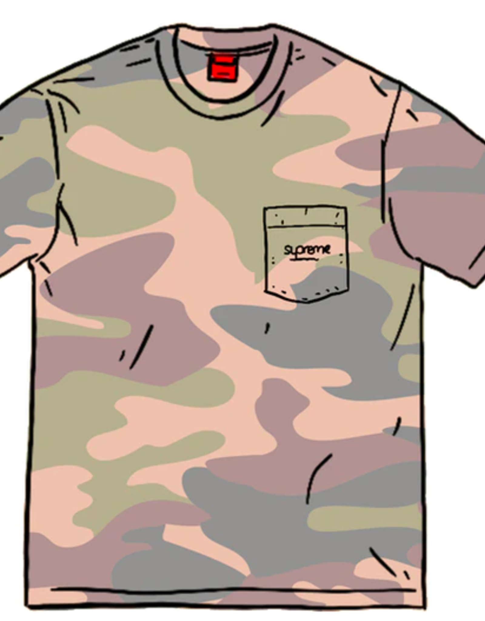SUPREME Overdyed Pocket Tee (SS20) Painted Camo XL