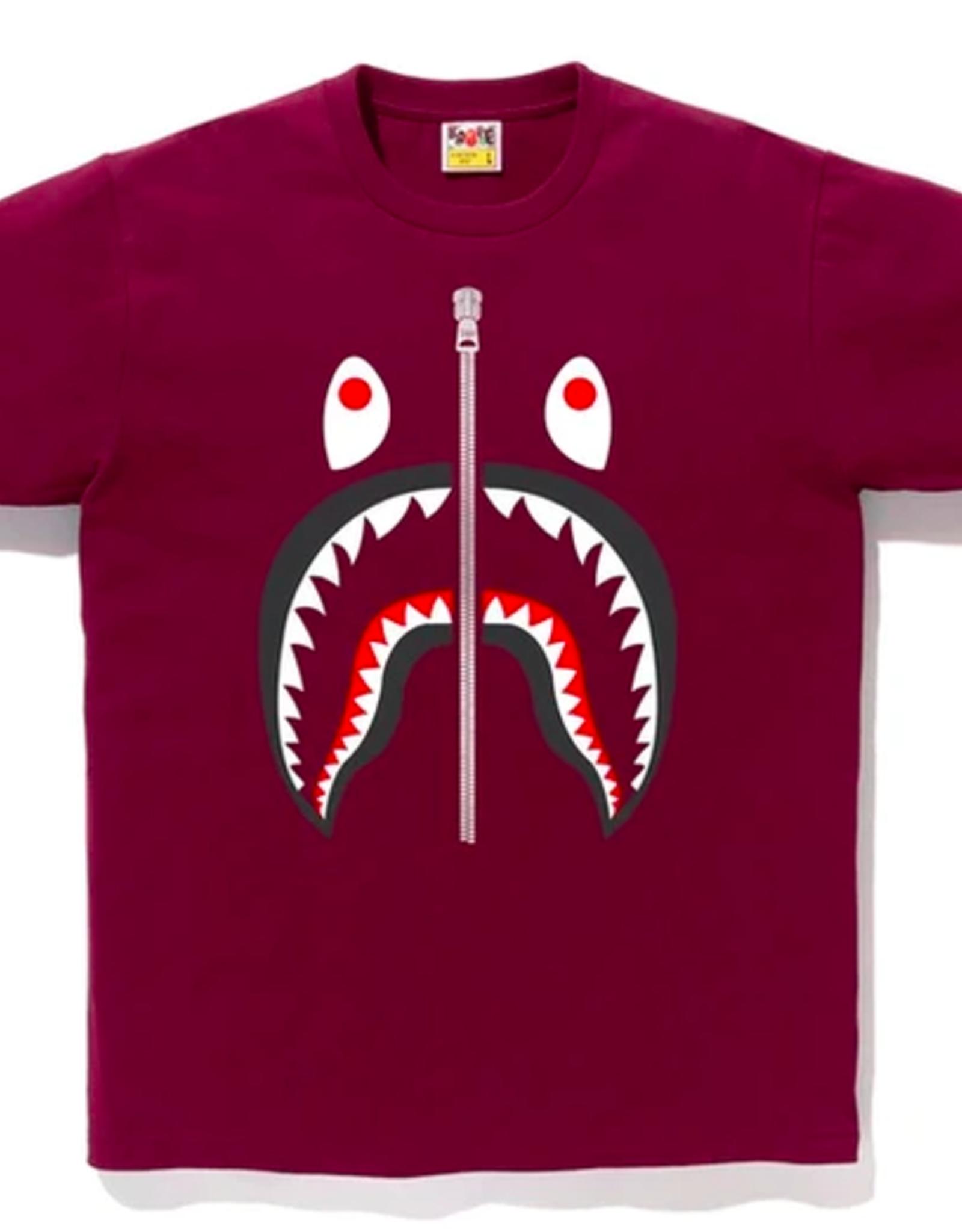 BAPE BAPE SHARK TEE BURGUNDY