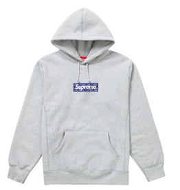 SUPREME Bandana Box Logo Hooded Sweatshirt Heather Grey WORN MED