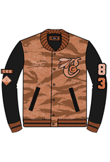 COOKIES TOP OF THE KEY CANVAS TIGER CAMO W/ REAL LEATHER SLEEVES LETTERMAN JACKET