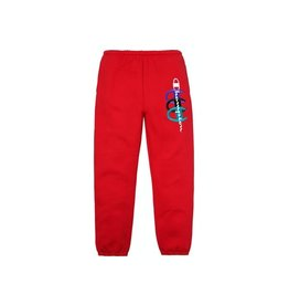 SUPREME Champion Stacked C Sweatpant Red LARGE