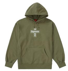 SUPREME Cross Box Logo Hooded Sweatshirt Light Olive MED