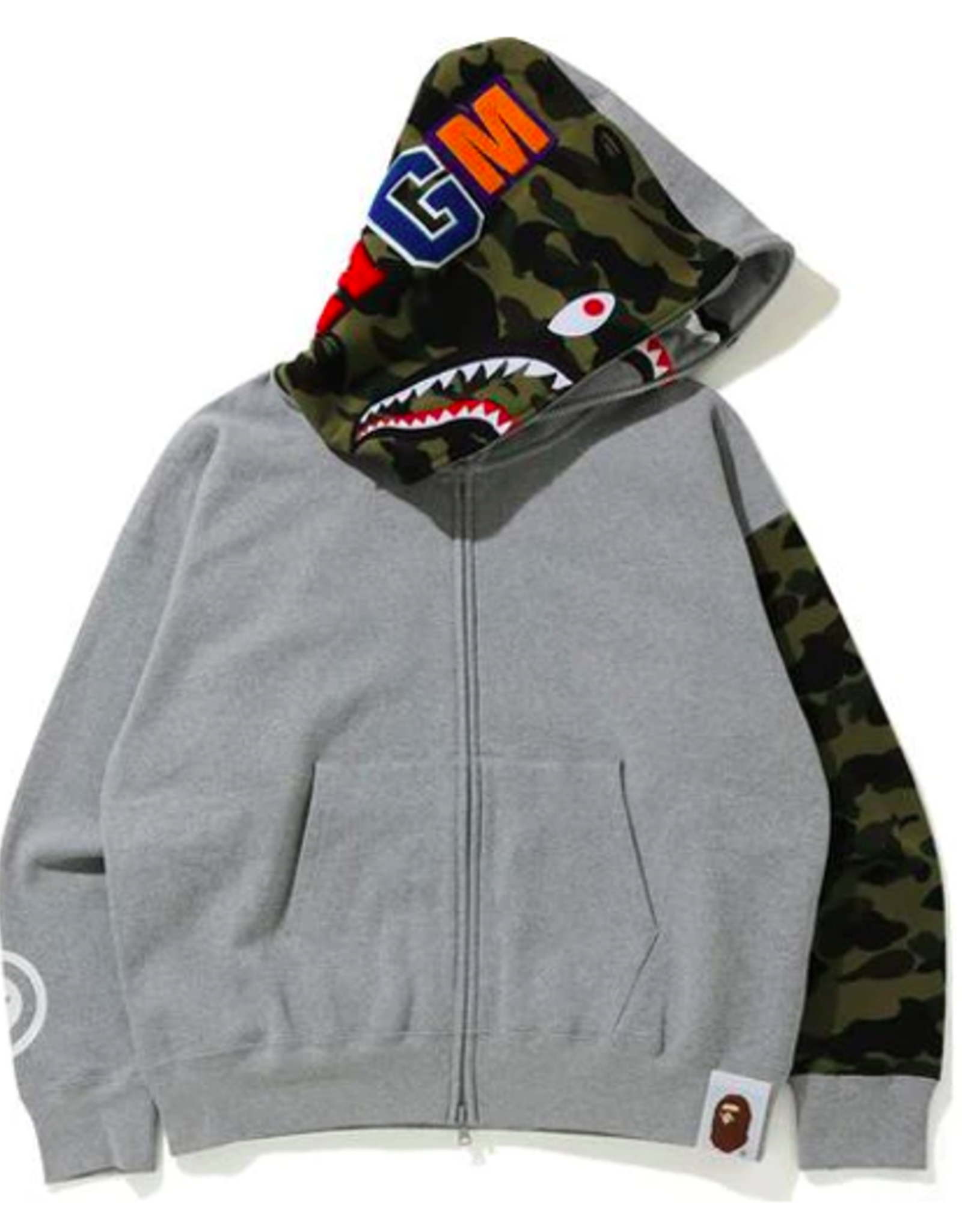 BAPE Giant Shark Full Zip Hoodie Gray