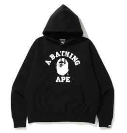 BAPE Relaxed Classic College Pullover Hoodie Black LARGE