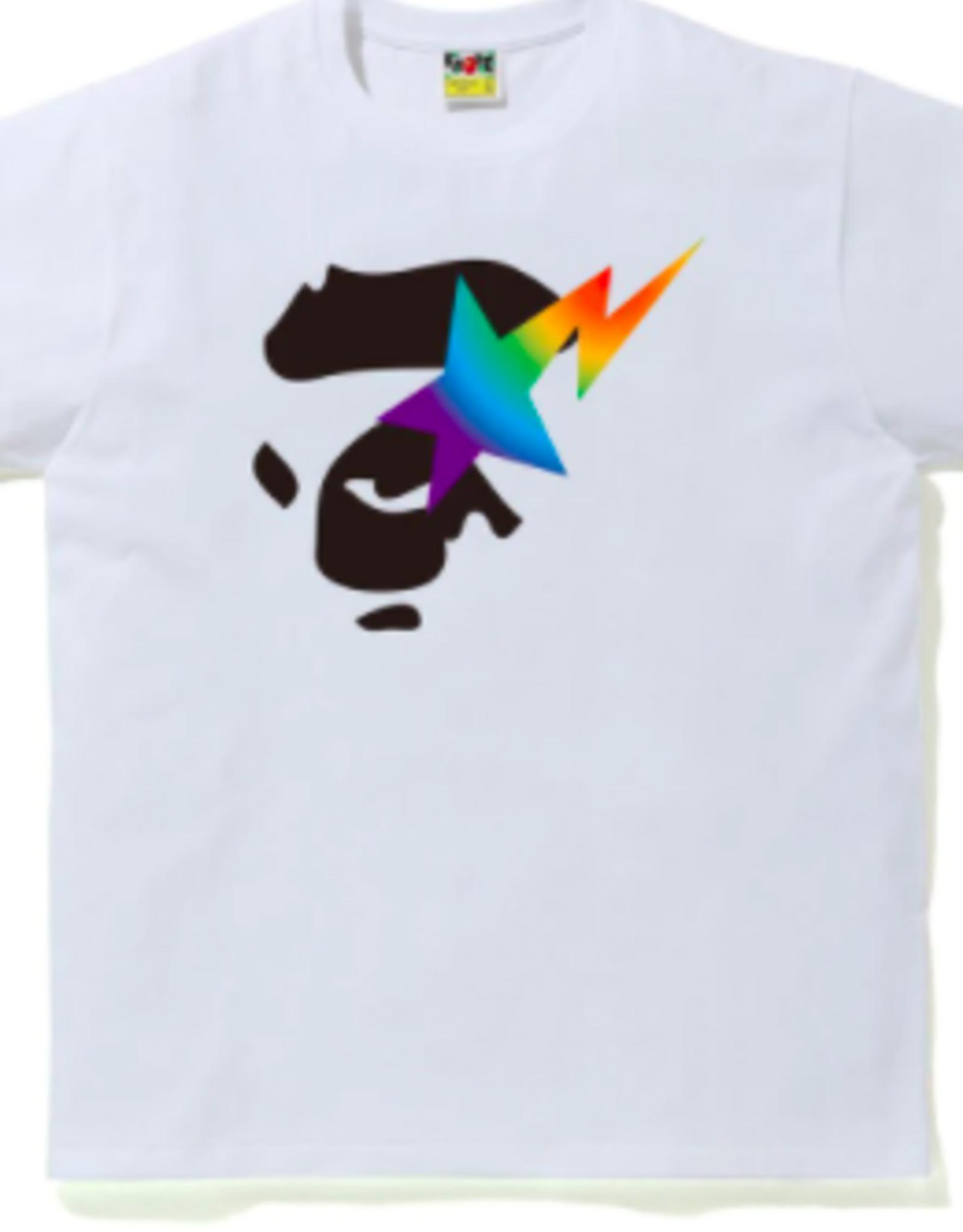 BAPE BAPE Rainbow Ape Face On Bape Sta Tee White