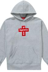 SUPREME Supreme Cross Box Logo Hooded Sweatshirt Heather Grey - Medium