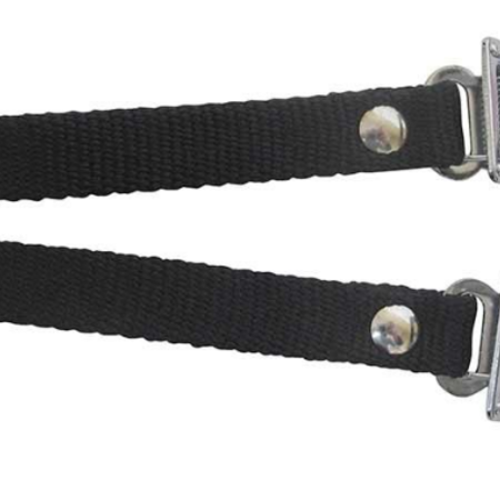 EVO, Nylon toe clip straps with steel buckle, Black