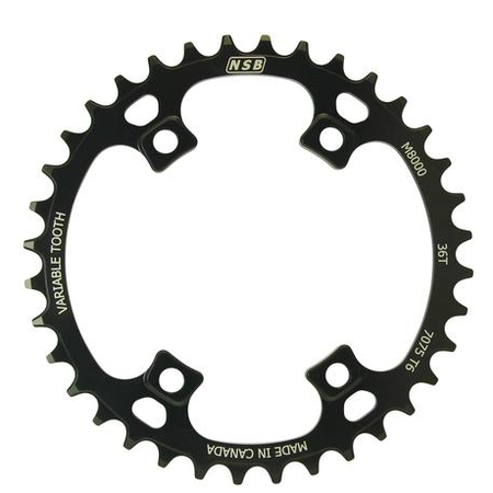 NSB NSB Variable Tooth Chainring, Shimano M8000 & M7000, 96BCD, 36T, Black