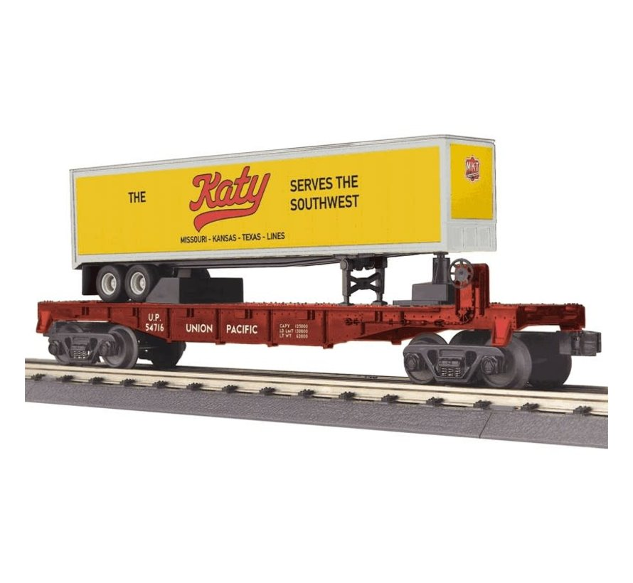 MTH : O UP Flat car w/ 40'trailer