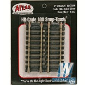 "ATLAS ATL-823 - Atlas : HO 3""Straight (4 pcs)"