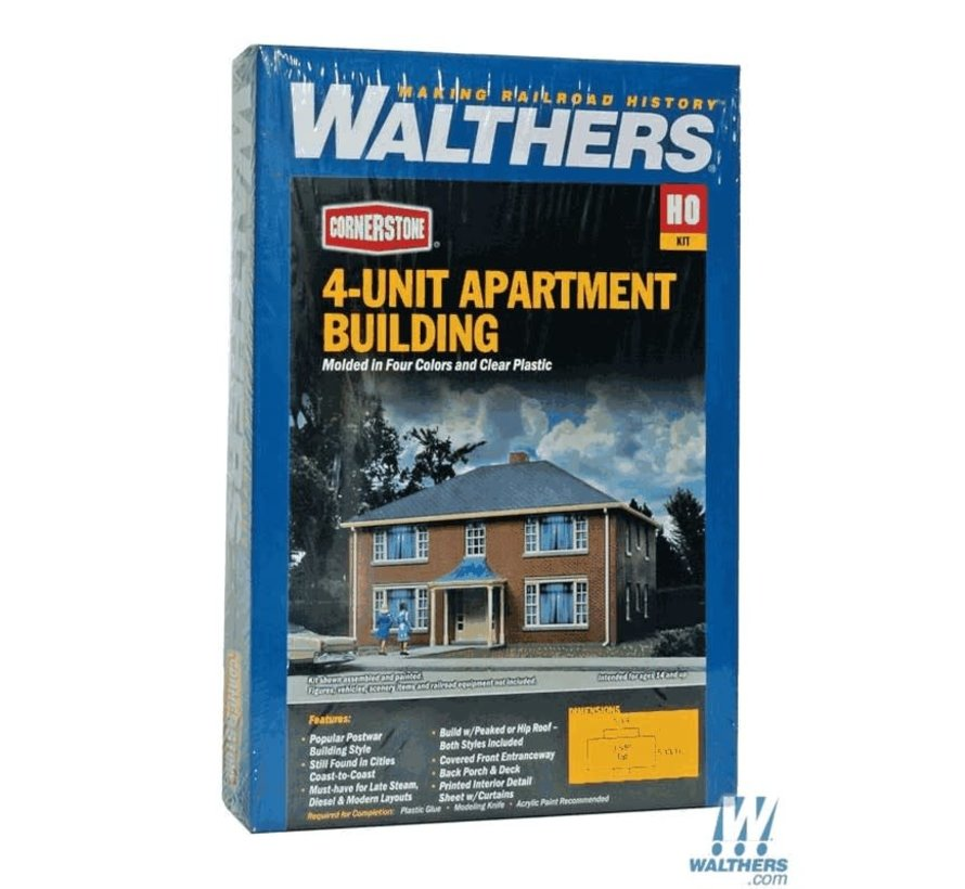 Walthers : HO Four-Unit Brick Apartment