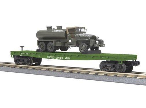 MTH MTH : O US Army Flatcar w/(1) 6x6 Tank Truck