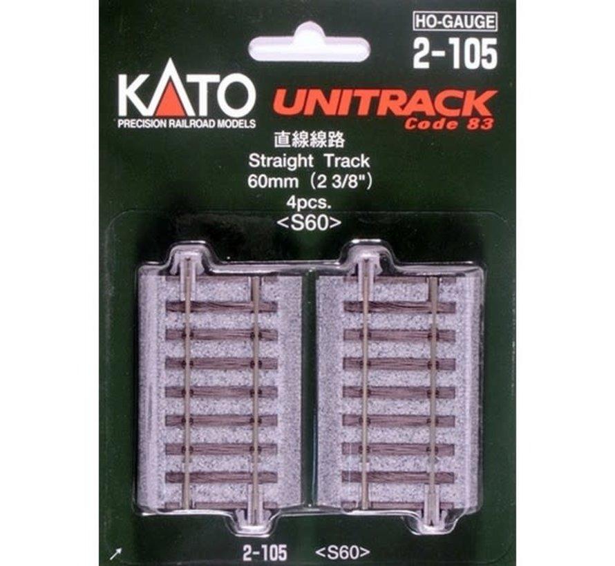 Kato : HO Track 60mm Straight 4pcs