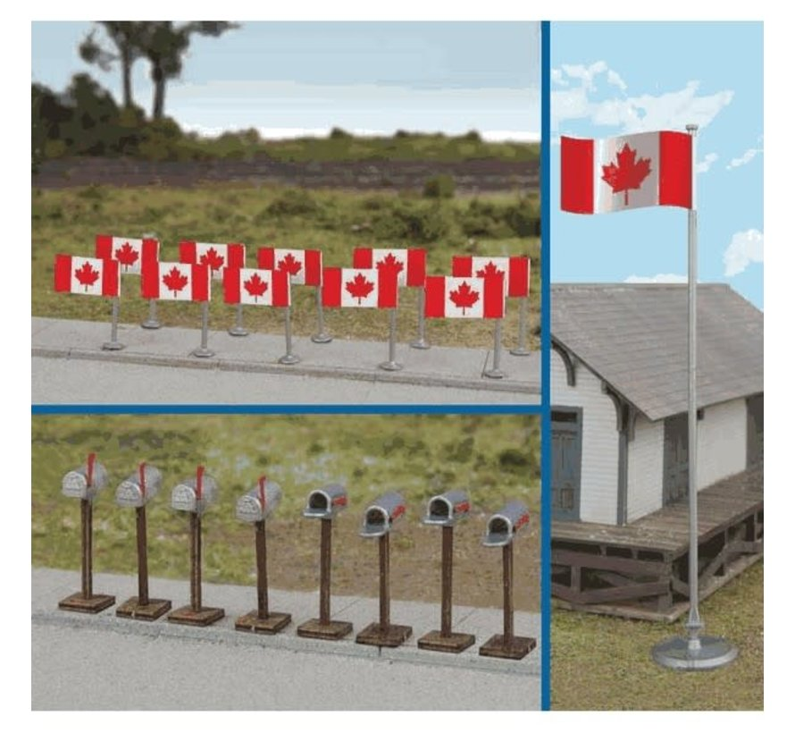Walthers : HO Canadian Flags & Mailbox