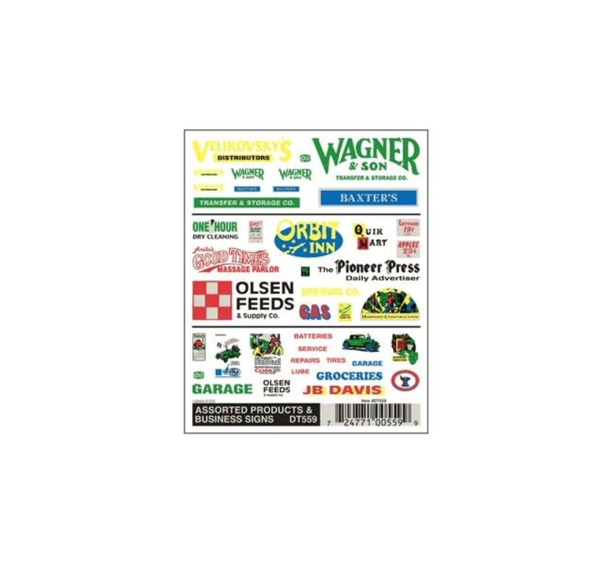 Woodland : Assorted Products & Business Signs