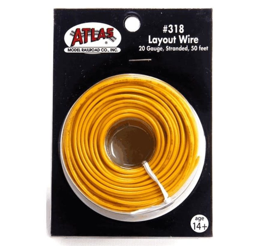 Atlas : HO #22 Wire Yellow (50 ft)