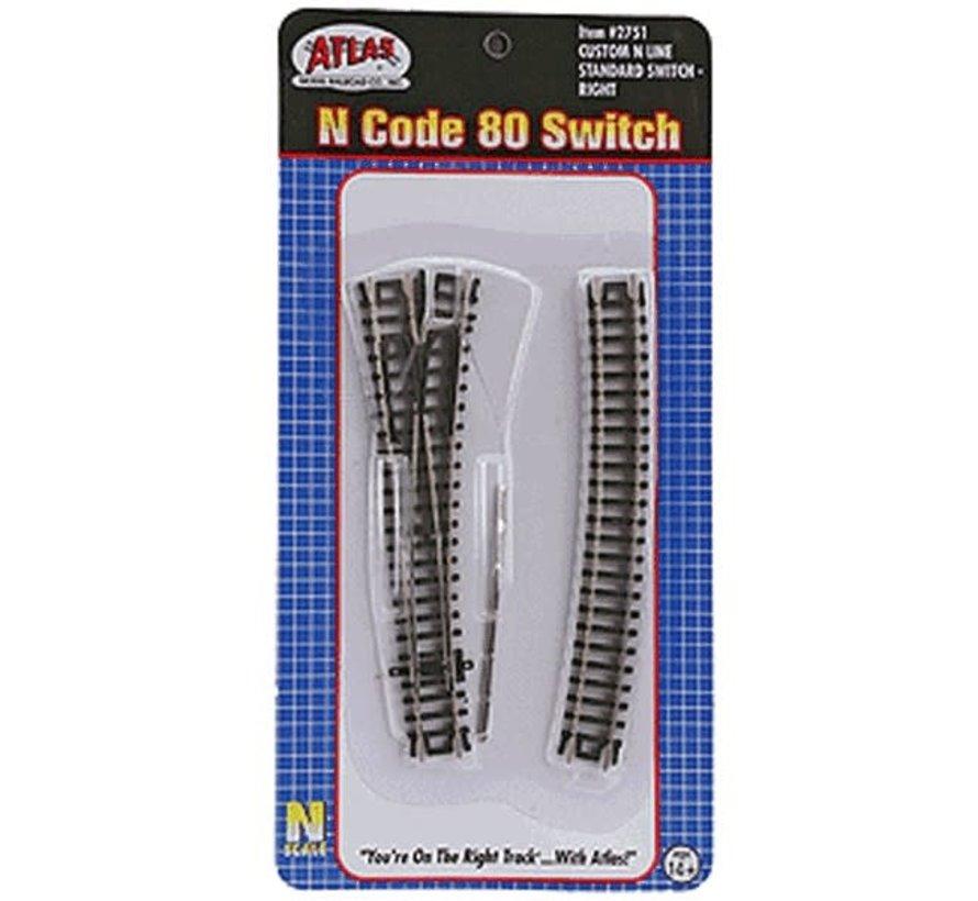 Atlas : N Code 80  #4 Right Custom Switch