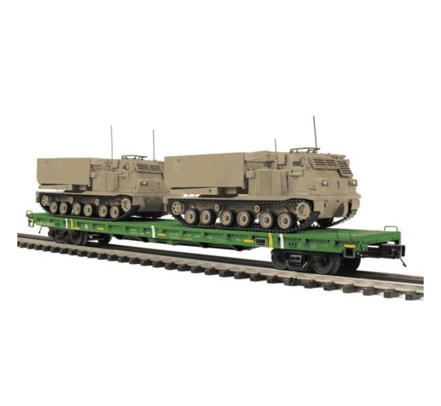 MTH : O 60' Flat Car w/(2) M270 Rocket Launcher Vehicles