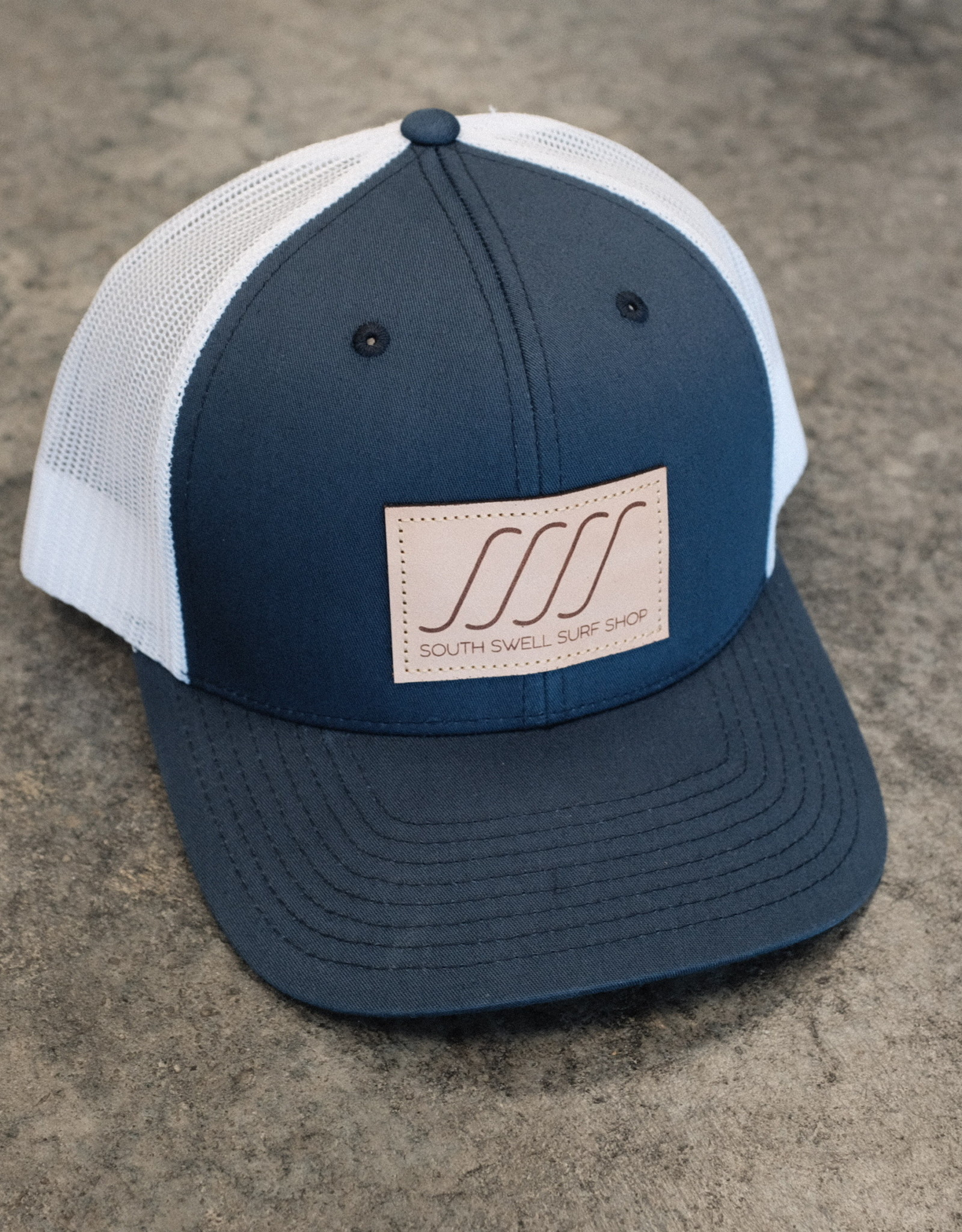 South Swell Surf Shop SSSS Leather Patch Trucker Hat