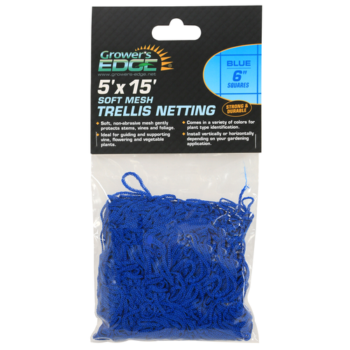 Growers Edge Grower's Edge Soft Mesh Trellis Netting 5 ft x 15 ft w/ 6 in Squares - Blue (12/Cs)