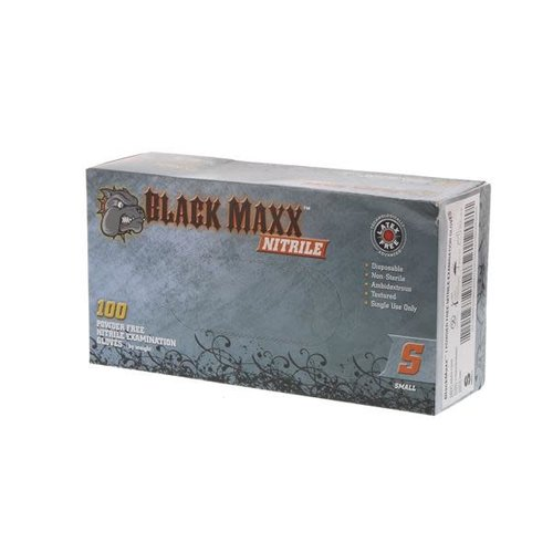 DASH MEDICAL Black Maxx Nitrile Pwdr Free Gloves Small