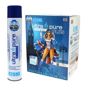 GOURMET INNOVATIONS Special Blue Butane - Ultra Pure Plus 420ml Black Cans w/metal tips (12 Per Case)