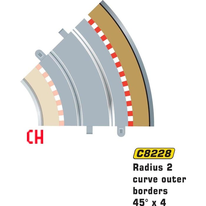 Radius 2 Curve Outer Borders 45° x 4
