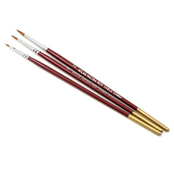 Red Sable Brush Set 3pc. Sizes 5/0, 0, 2