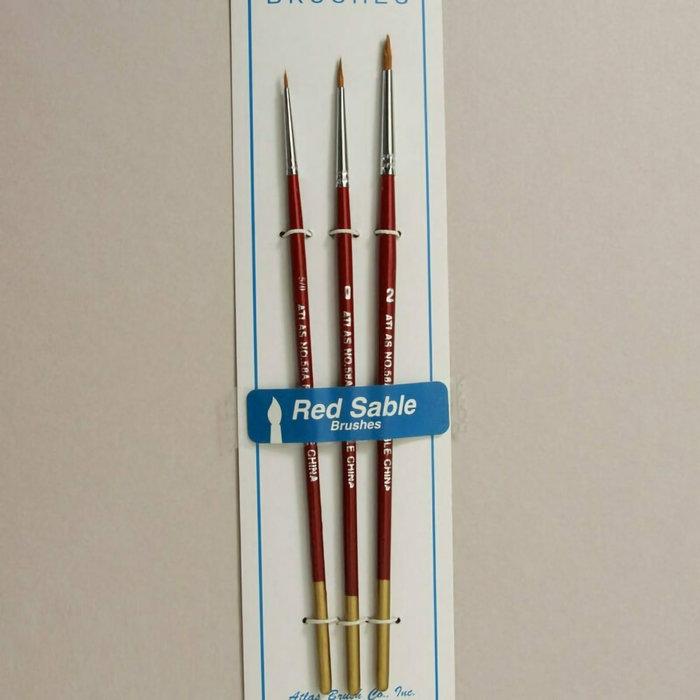 Red Sable Brush Set 3pc. Sizes 10/0, 5/0, 0
