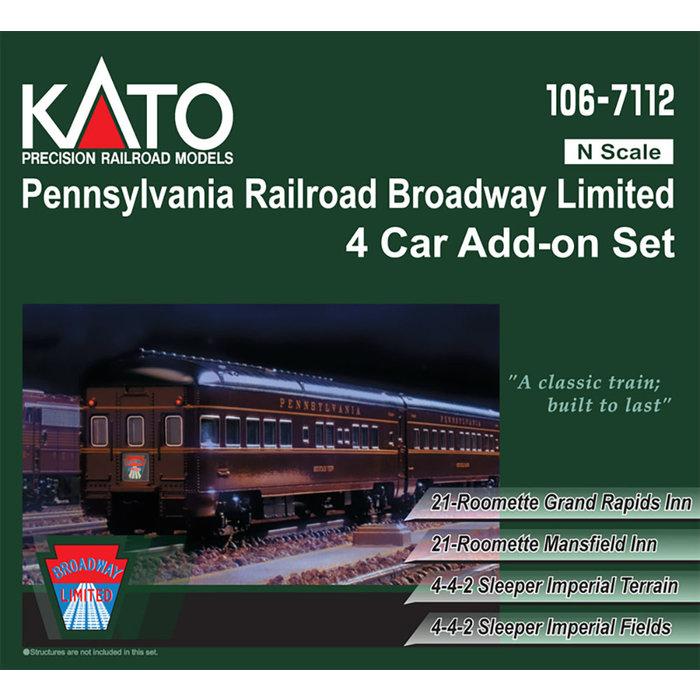 N PRR Broadway Ltd. 4-Car Add-On Set w/Interior Lighting & D