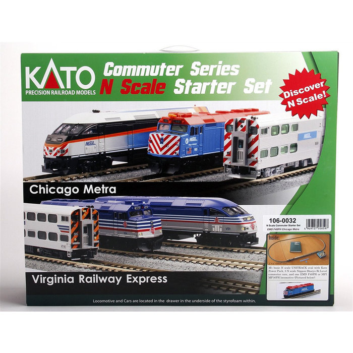 N Chicago Metra Commuter Starter Set/F40PH (New Paint Scheme