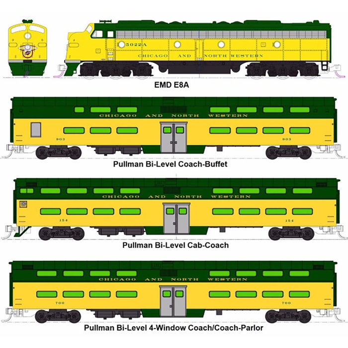 N CNW '400' Bi-Level 6-Unit Psg.Set/E8A Diesel #5022-A w/(5)