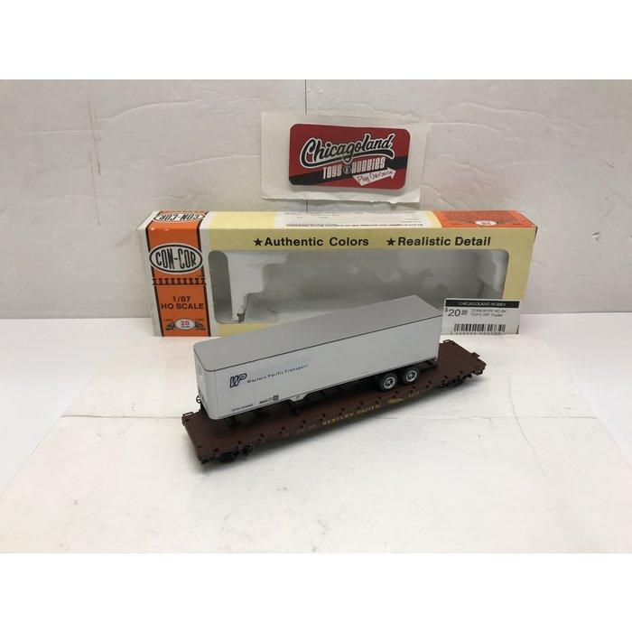 Concor 0001-009184 HO Western Pacific 54' TOFC Flat Car W/Trailer