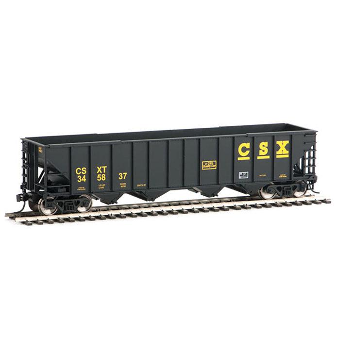 50' 100-Ton 4-Bay Hopper - Ready to Run -- CSX Transportation #345837 (black, yellow)