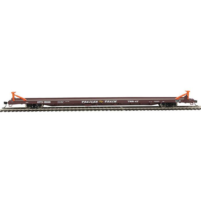 89' Channel Side Flatcar - Ready-To-Run -- Trailer-Train KTTX #150101 (1960s brown, Twin 45')