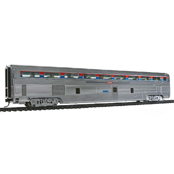 85' Budd Hi-Level 72-Seat Coach - Lighted - Ready to Run -- Amtrak (Plated Metal Finish; Phase I, Stripes in Upper Window Panel)