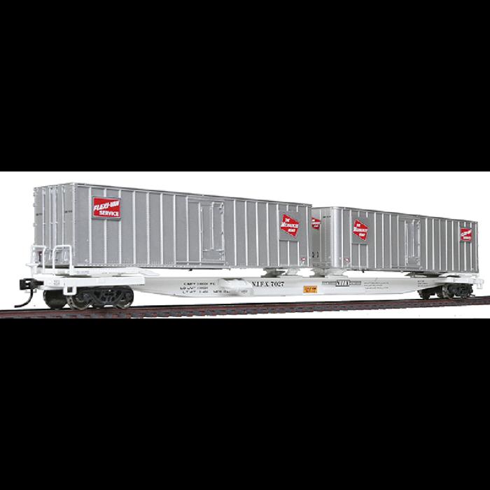 HO Flatcar w/Two Trailers - RTR NIFX #7027 w/Milwaukee Road