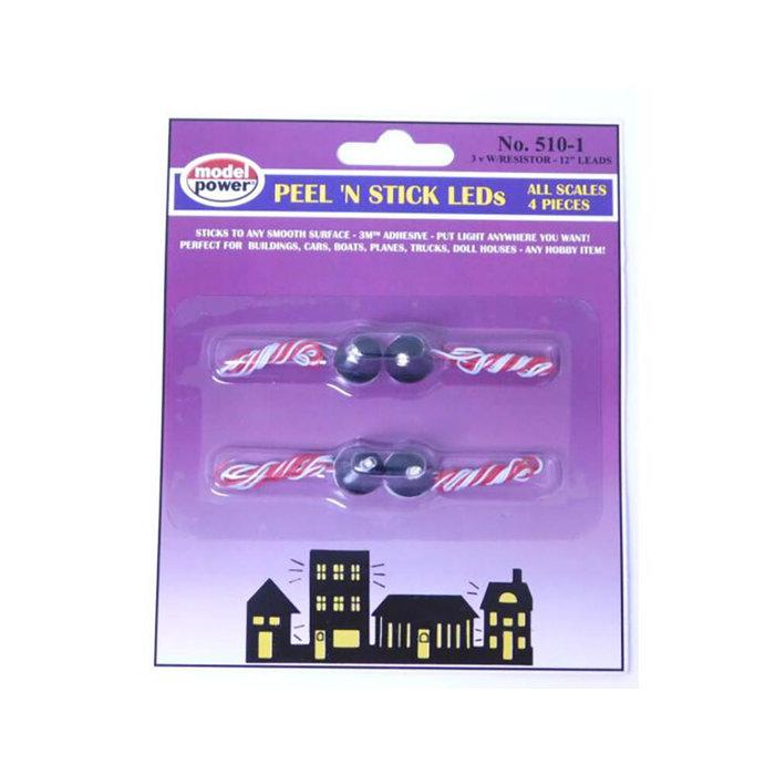HO Peel'N Stick Bldg Lights/4pc