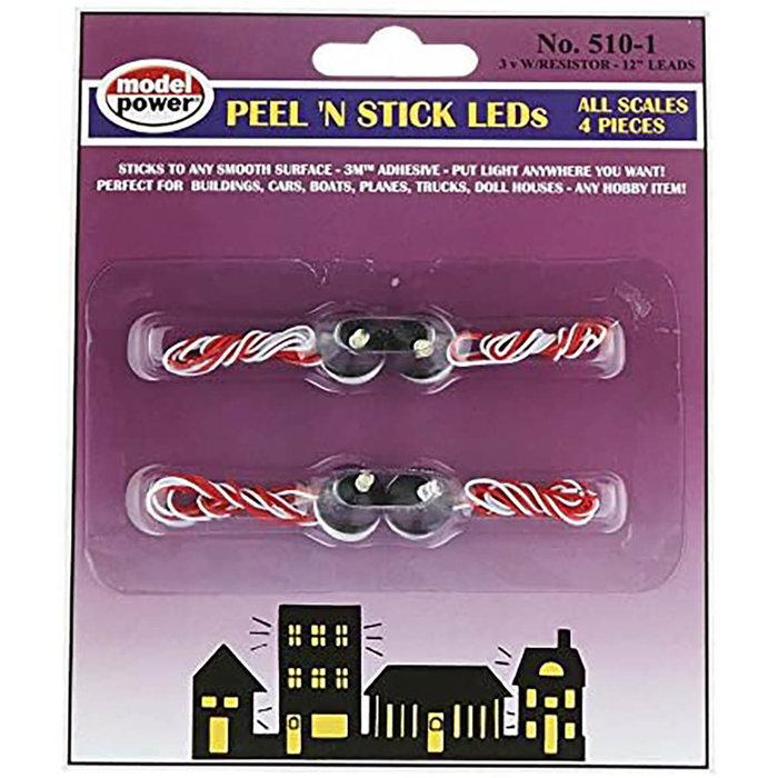 Peel 'N Stick LED w/ Resistor (4 pcs) 3V (20mA)