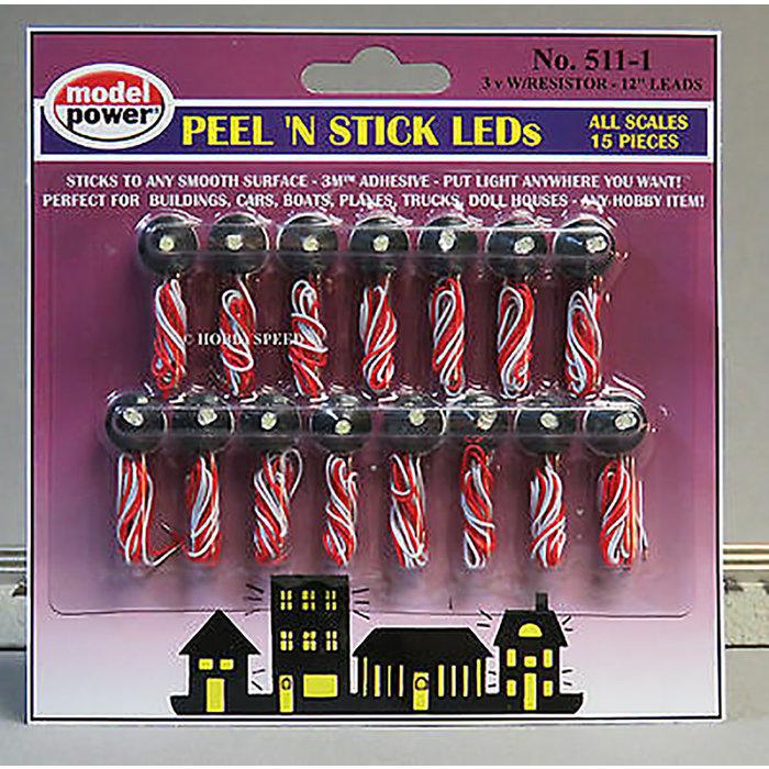 Peel 'N Stick LED w/ Resistor (15 pcs) 3V (20mA)