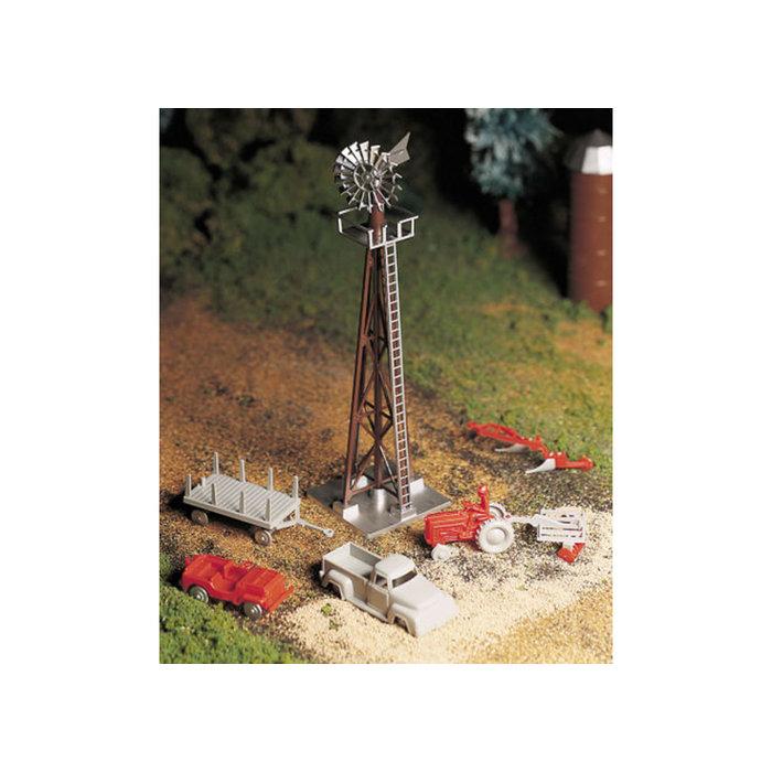 O Plasticville Windmill w/Farm Machinery Kit