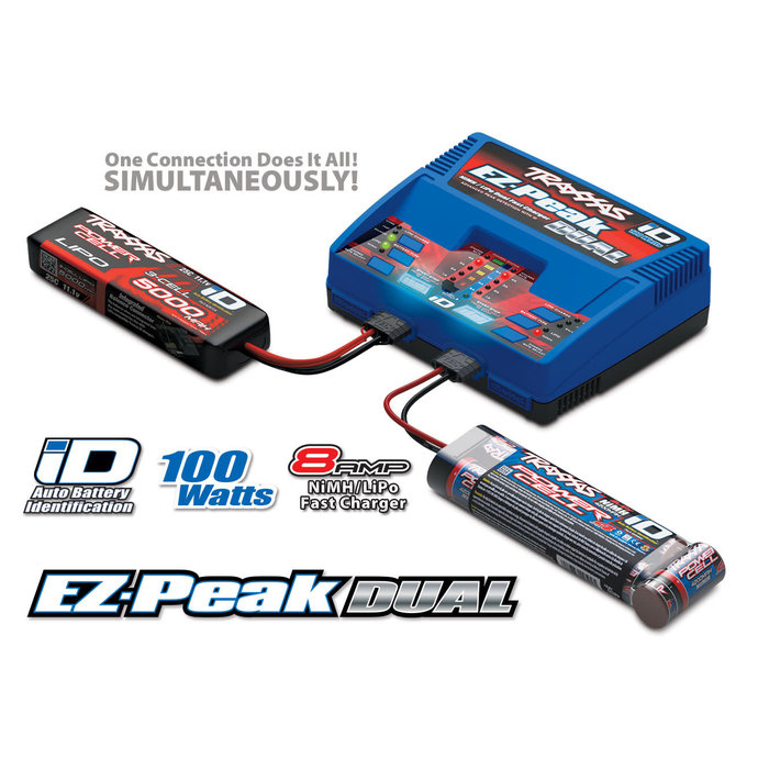 Charger, EZ-Peak® Dual, 100W, NiMH/LiPo with iD® Auto Battery Identification