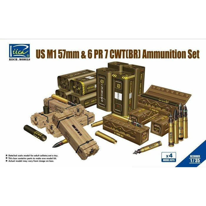 1:35 US M1 57mm & 6 PR 7 CWT (BR) Ammunition Set