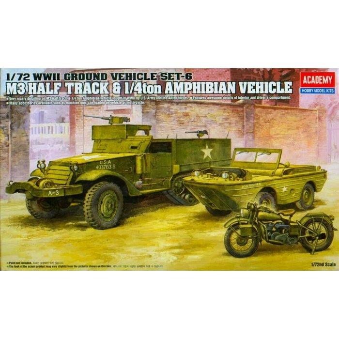 1:72 WWII US M3 Half-Track & 1/4ton Amphibian Vehicle & Motocycle