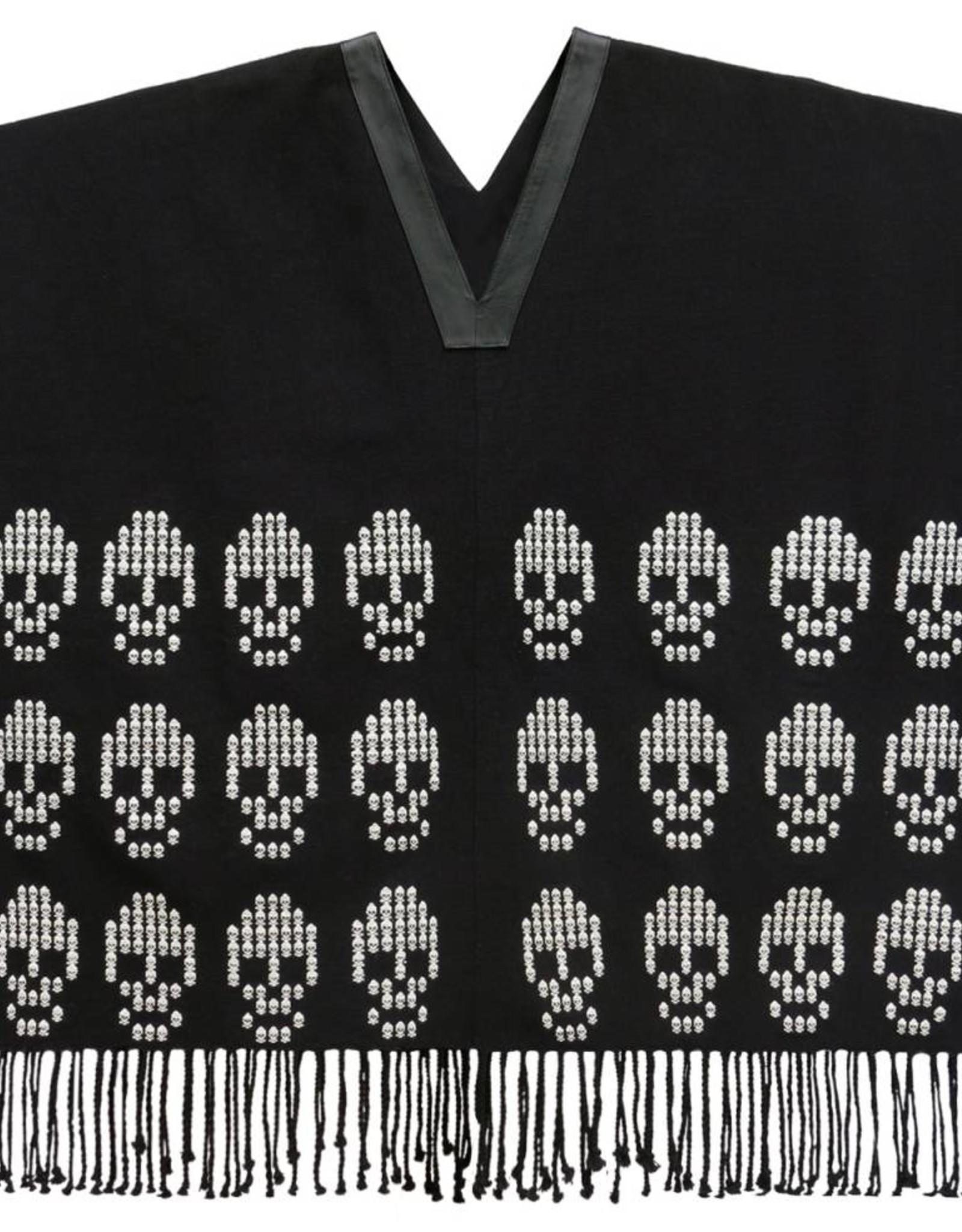 TALLER 67 poncho largo con brocado de calaveras tejido en telar de cintura CRUDO NEGRO, NEGRO CRUDO TALLER 67