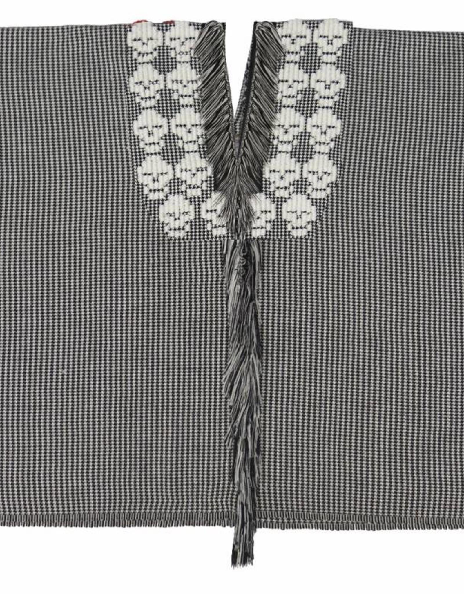TALLER 67 poncho corto con tela gruesa rehilete con calaveras bordadas tejido  en telar de pedal CRUDO NEGRO , NEGRO CRUDO