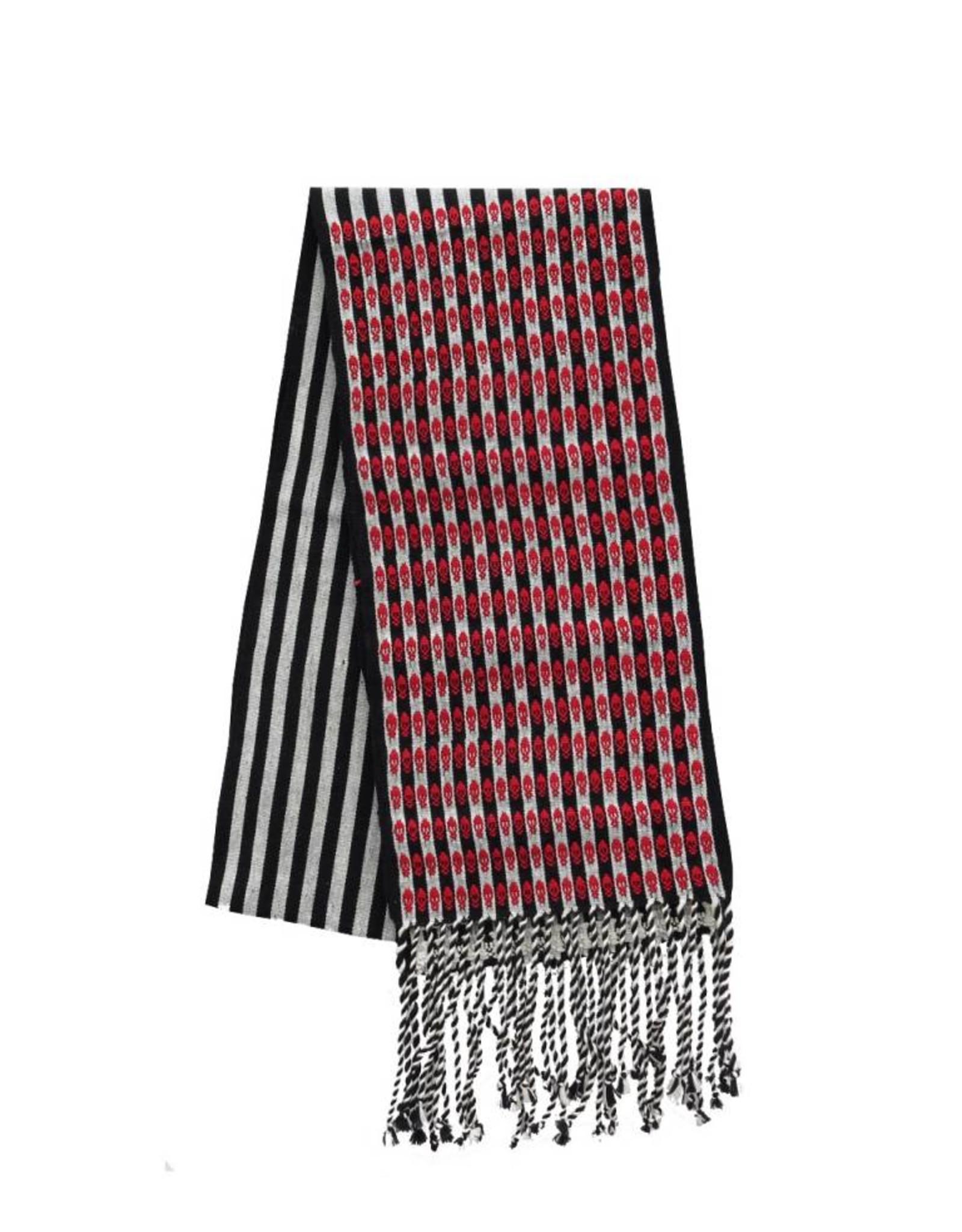 TALLER 67 bufanda lineal con brocado de calaveras tejido en telar de cintura NEGRO CRUDO, CRUDO ROJO TALLER 67