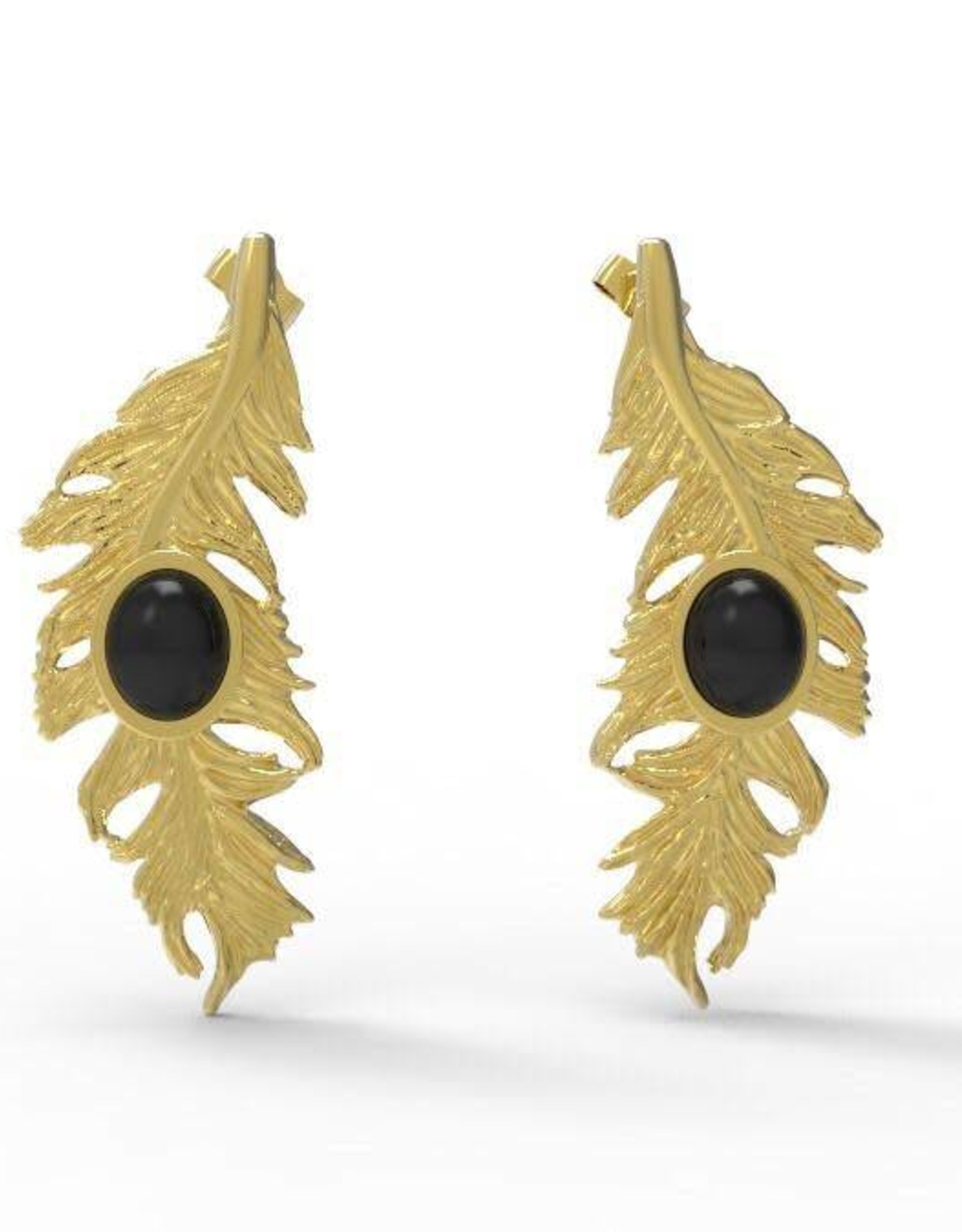 AVORIGEN ARETES FEATHER NEGRO, AVORIGEN