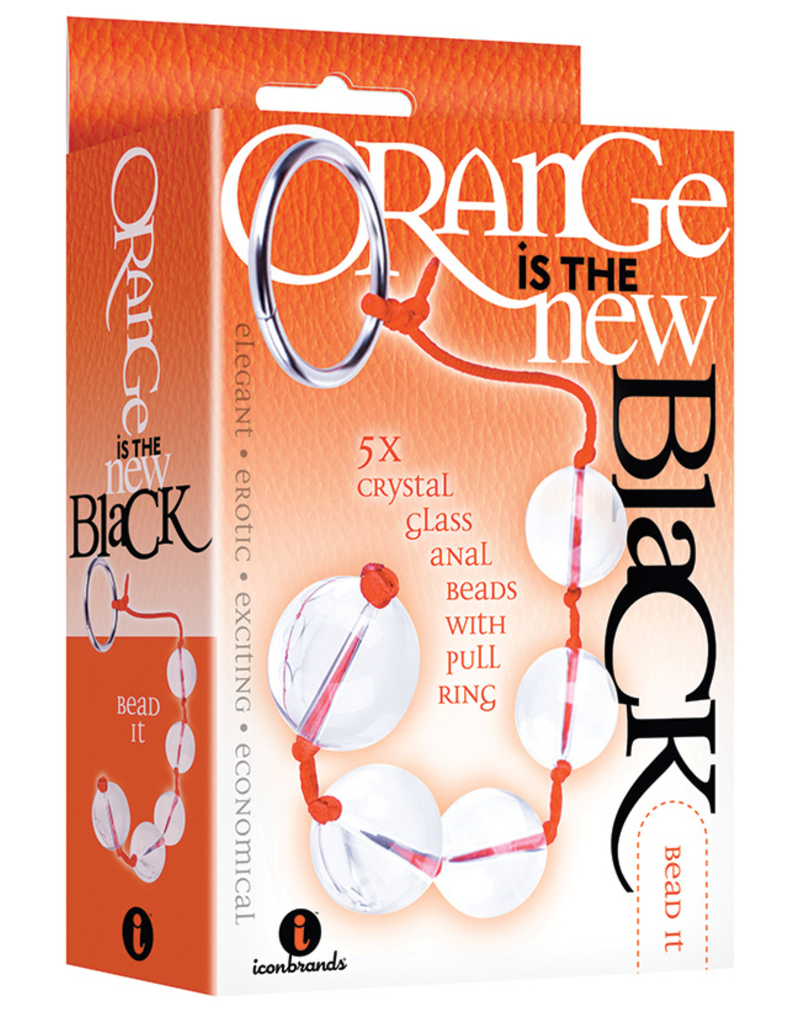 The 9'S Orange Is The New Black 5X Glass Anal Beads